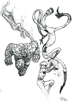 Fantastic Four [Lineart] by MrRizeAG