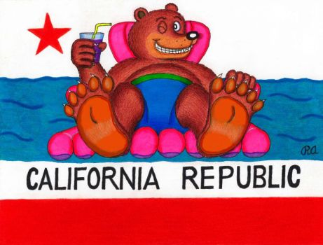 California Bear Feet Flag by WalterRingtail