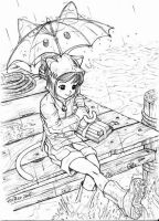 Child on Dock Sketch by froggiechan
