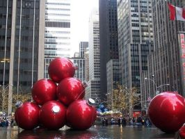 Giant Christmas ornaments - NYC by PureIdiocy