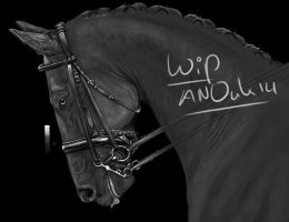Dressage grayscale WIP by Valanee