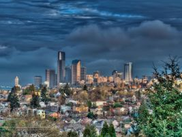 Morning Sun Break Over Seattle by UrbanRural-Photo