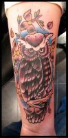 owl coverup tattoo by thirteen7s