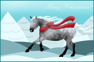 Christmas Horse Greeting Card by AllerleiArt