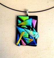 Geometric Fused Glass Pendant Necklace 2 by FusedElegance