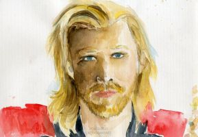 WIP Thor Watercolour by BowieKelly