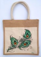 Peacock Feather Painted Tote Bag by Ceil