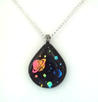 Fused Dichroic Space Teardrop Pendant by poisons-sanity