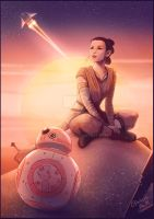 Rey and BB8 by Emeraldus
