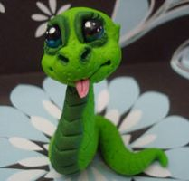 polymer clay snake snickers by crazylittlecritters