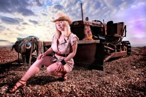 cowgirl with tractor by SachaDanielle