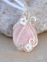 Rose Quartz pendant wrapped with sterling silver by IanirasArtifacts