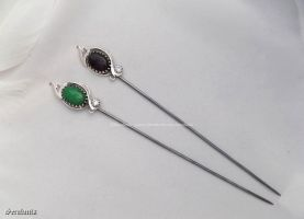 'Silver twins', handmade sterling silver hatpins by seralune