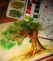 Summer tree aquarell/watercolor by aline-toast