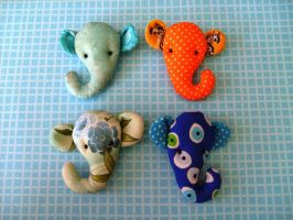 elephant brooches by rosieok