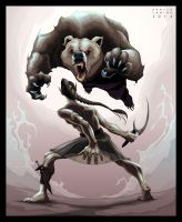 Battle scene between an elf and an angry bear by neptune82