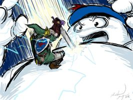 Link vs. Stay Puft by MichaelMayne