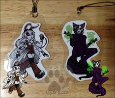 Toxic and Sissy keychains- commission by NightTwilightWolf
