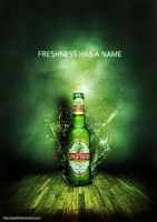 refreshing beer bottle poster by pratt29