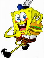 Spongebob with a krabby patty by ZainArts