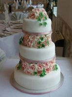 pink rose wedding cake by KarenJerram