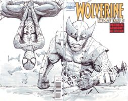 Wolverine sketch cover - Wolvie and Spidey Teamup by 13wishes