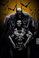 BATMAN OVER SUPER STATUE by KYLE-CHANEY