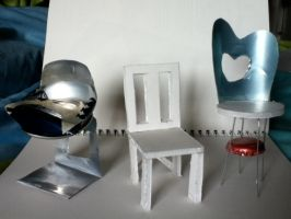 3 Miniature chair models by Rovertarthead