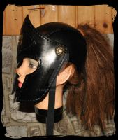 leather helmet armor side view by Lagueuse
