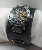 Black Layered Leather Mechanical Watch by OneEyedGimp