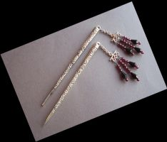 Hair Sticks with Garnet Beads by BastsBoutique