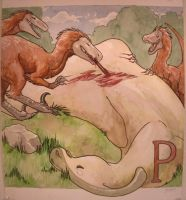 P is for Pyroraptor by Matuska