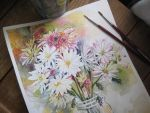 Painting from Life: Ball Jar Daisies by golden-quince