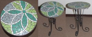 Flower wrought iron mosaic table Green by EleonoraIlieva