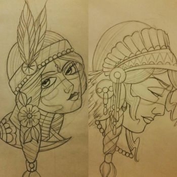 native indian girl tattoo designs by thirteen7s