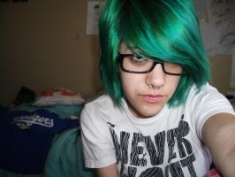 greenish blue hair by SaraSunshineeeee