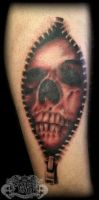 Skull in zip by state-of-art-tattoo