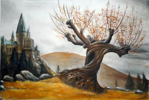 Whomping willow autumnal  landscape :) by WormholePaintings
