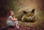 Girl And A Giant Cat by dashingcovers