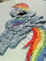 Rainbow Dash embroidery closeup by UszatyArbuz