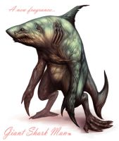 Giant Shark Man by cotton