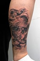 monsterskull on leg by graynd