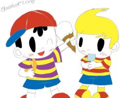 Earthbound Boys with Ice Cream by plushietoon