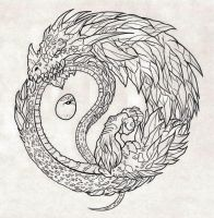 Yin Yang Ouroboros by NarcissusTattoos