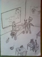 Crack Head Larry in the class room by My-Freedom-In-Art