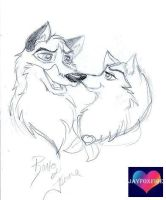 Balto and Jenna by jayfoxfire