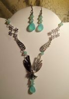 Queen of the sky-necklace earring set by Destinyfall