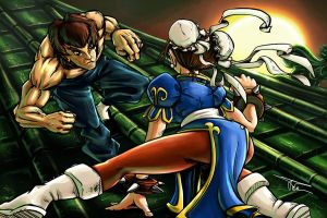 Street Fighter - Fei Long Vs Chun Li by MirrorwoodComics