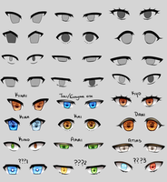 Bunch of anime eyes by Tori001