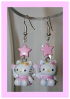 Hello kitty fairy earrings by False-desire